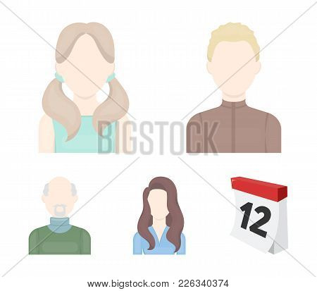 Boy Blond, Bald Man, Girl With Tails, Woman.avatar Set Collection Icons In Cartoon Style Vector Symb