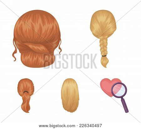 Light Braid, Fish Tail And Other Types Of Hairstyles. Back Hairstyle Set Collection Icons In Cartoon