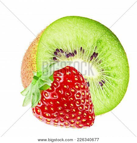 Isolated Fruits. Cut Kiwi And Strawberry Fruits Isolated On White Background With Clipping Path As P