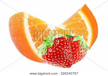 Isolated Slice Oranges And Strawberries On White Background With Clipping Path As Packaging Design E