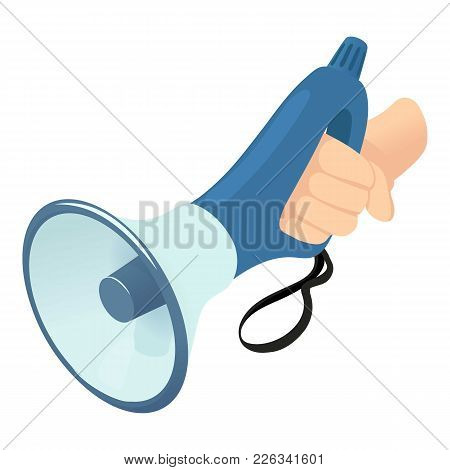 Small Megaphone Icon. Isometric Illustration Of Small Megaphone Vector Icon For Web