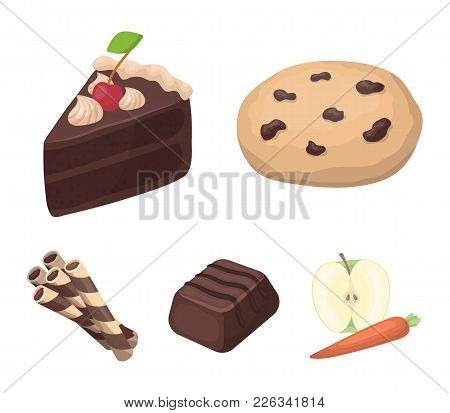 American Cookies, A Piece Of Cake, Candy, Wafer Tubule. Chocolate Desserts Set Collection Icons In C