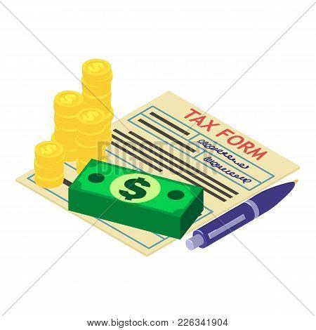 Tax Declaration Icon. Isometric Illustration Of Tax Declaration Vector Icon For Web