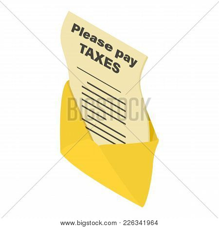 Tax Notice Icon. Isometric Illustration Of Tax Notice Vector Icon For Web