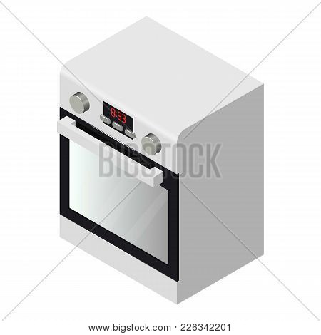 Gas Oven Icon. Isometric Illustration Of Gas Oven Vector Icon For Web