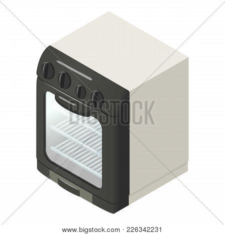 Modern Gas Oven Icon. Isometric Illustration Of Modern Gas Oven Vector Icon For Web