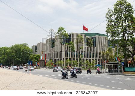 Hanoi, Vietnam - May 24, 2015: Panorama Street View Of New National Assembly Building, Was A Public