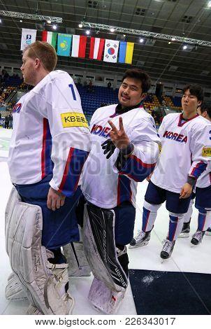 Kyiv, Ukraine - April 28, 2017: Goalkeepers Matt Dalton (left) And Sungje Park Of South Korea Smile