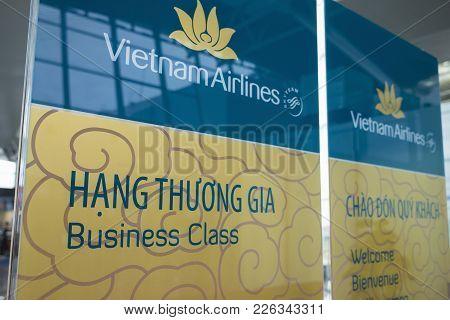Hanoi, Vietnam - June 26, 2015: Business Class Sign Of Vietnam Airlines At Noi Bai International Air