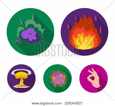 Flame, Sparks, Hydrogen Fragments, Atomic Or Gas Explosion. Explosions Set Collection Icons In Flat