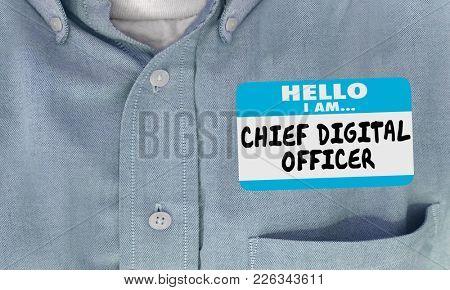 Chief Digital Officer CDO Name Tag Shirt 3d Illustration