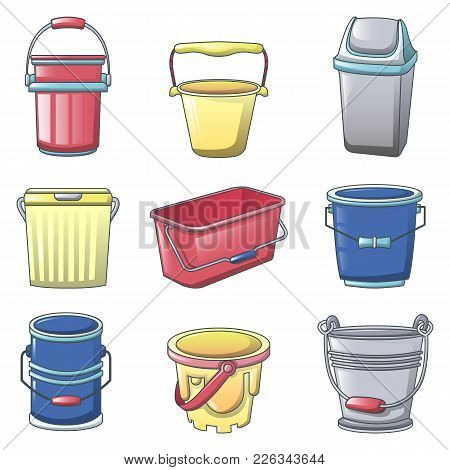 Bucket Types Container Icons Set. Cartoon Illustration Of 9 Bucket Types Container Vector Icons For