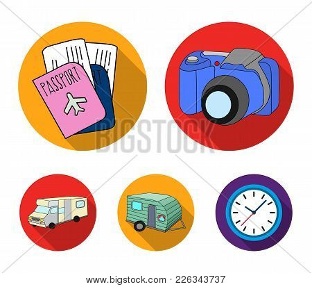 Vacation, Photo, Camera, Passport .family Holiday Set Collection Icons In Flat Style Vector Symbol S