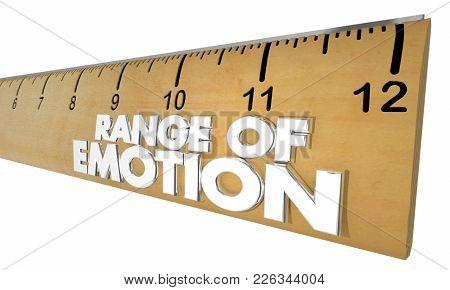 Range of Emotion Ruler Measure Feelings 3d Illustration