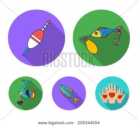 Fishing, Fish, Catch, Hook .fishing Set Collection Icons In Flat Style Vector Symbol Stock Illustrat