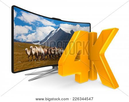4K TV on white background. Isolated 3D illustration