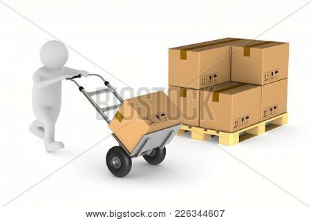 men with cargo box on hand truck. Isolated 3D illustration