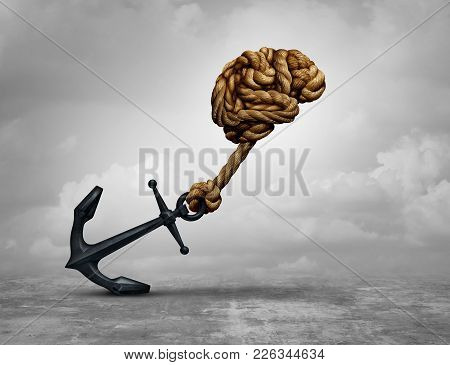 Powerful Decision And Power Thinking Concept As A Human Brain Made Of Ropes Pulling An Anchor With 3