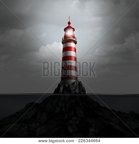Lighthouse And Watchtower Light Beacon As A Metaphor For Guidance And Warning Guidance To Avoid Dang