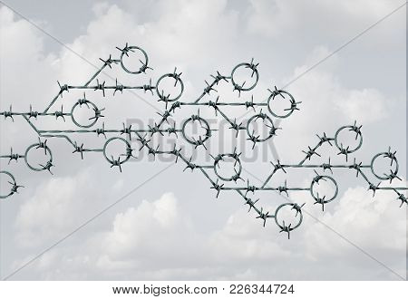Technology Security And Cyber Safety As Barb Wire Shaped As A Computer Circuit Symbol  As A Tech Thr