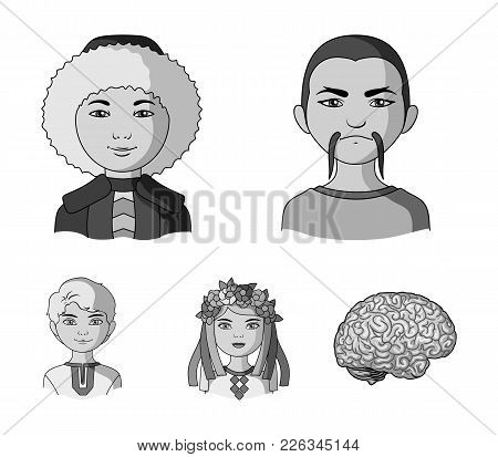 Chinese, Ukrainian, Russian, Eskimo. Human Race Set Collection Icons In Monochrome Style Vector Symb