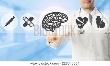 Psychologist Doctor Pointing At Brain Symbol Icon