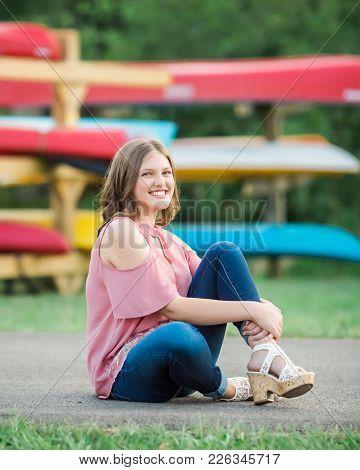 Caucasian High School Senior Girl Outside