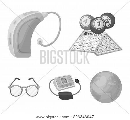 Lottery, Hearing Aid, Tonometer, Glasses.old Age Set Collection Icons In Monochrome Style Vector Sym