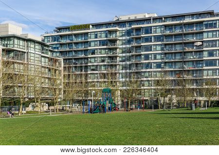 Vancouver, Canada - February 9, 2018: Outside Green Grass At Willow Park Near Residential High Store