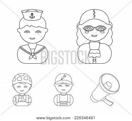 Judge, Sailor, Soldier, Mechanic.profession Set Collection Icons In Outline Style Vector Symbol Stoc