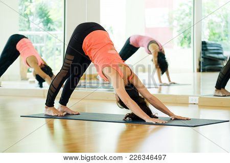 Young Asian Women Practicing Yoga, Fitness Stretching Flexibility Pose, Working Out, Healthy Lifesty