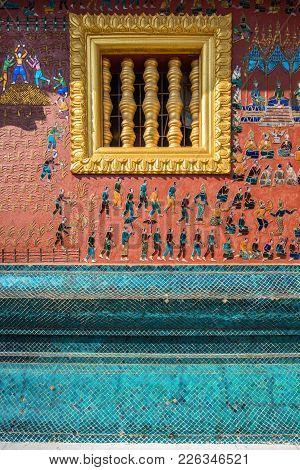 Wall Details Of Wat Xieng Thong,luang Prabang, Laos