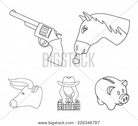 Head Of A Horse, A Bull's Head, A Revolver, A Cowboy Girl. Rodeo Set Collection Icons In Outline Sty