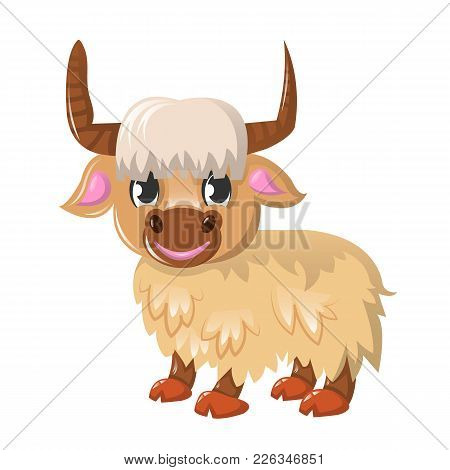 Beautiful Funny Cartoon Wild Bull - Yak. Large Colorful Yak. A Cloven-hoofed Mammal Of The Genus Of