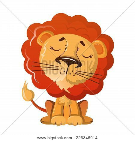 Funny Wild Cartoon Lion With Nice Kind Look. Wild Animals From Zoo. Wild Lion Inhabitant On Plains O