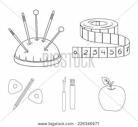 Measuring Tape, Needles, Crayons And Pencil.sewing Or Tailoring Tools Set Collection Icons In Outlin