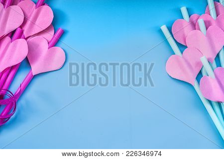 Drinking Straws With Pink Paper Hearts On Pink Background. Colorful Bright Party Sipping Straws For