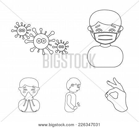 A Man In A Medical Mask, A Man Who Has A Stomachache, A Boy With A Handkerchief, Viruses, Germs, Bac