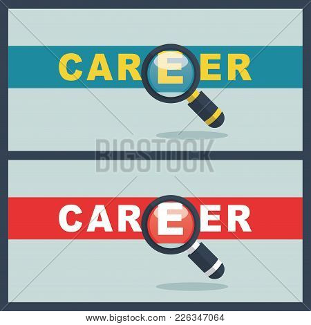 Illustration Of Career Word With Magnifier Concept