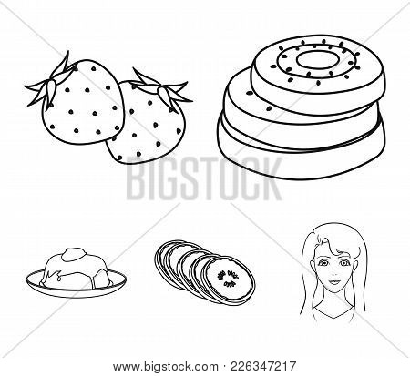 Fruits And Other Food. Food Set Collection Icons In Outline Style Vector Symbol Stock Illustration .