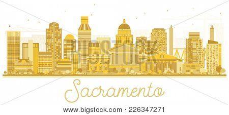 Sacramento California USA City Skyline Golden Silhouette. Simple Flat Concept for Tourism Presentation, Banner, Placard or Web Site. Sacramento Cityscape with Landmarks.