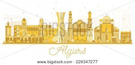 Algiers Algeria City Skyline Golden Silhouette. Simple Flat Concept for Tourism Presentation, Banner, Placard or Web Site. Algiers Cityscape with Landmarks.