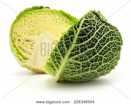 Savoy Cabbage Cut In Half Isolated On White Background Fresh Green Two Halves