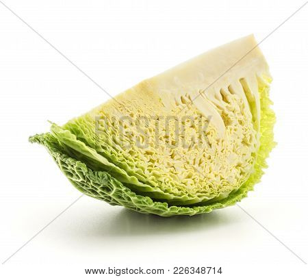 One Savoy Cabbage Quarter Slice Isolated On White Background Fresh Cut Green