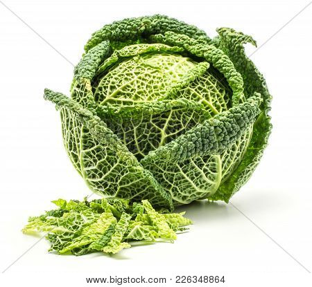 Savoy Cabbage With Chopped Leaves Stack Isolated On White Background One Fresh Green Head