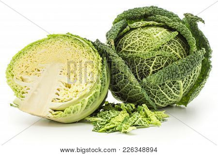 Savoy Cabbage Head And One Section Half With Chopped Leaves Stack Isolated On White Background Fresh