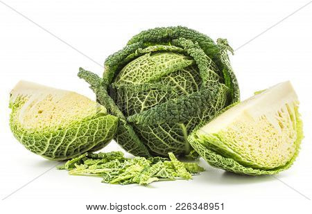 Savoy Cabbage Set One Head And Two Quarters With Chopped Leaves Stack Isolated On White Background F