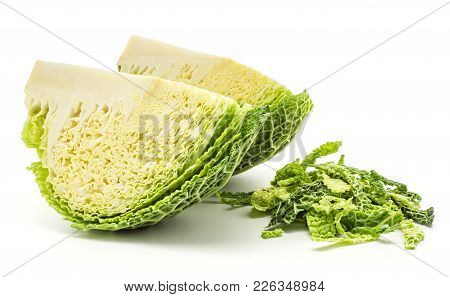 Two Savoy Cabbage Quarters With Chopped Leaves Stack Isolated On White Background Fresh Green