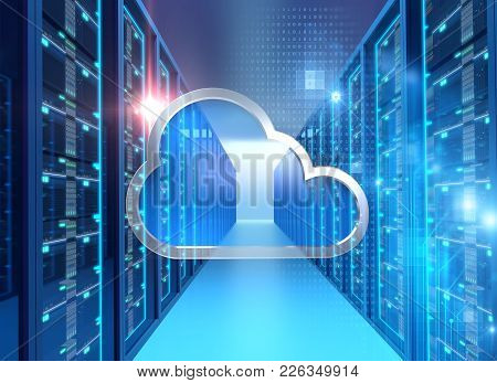 Server Room 3d Illustration With Node Base Programming Data  Design Element.concept Of Big Data Stor