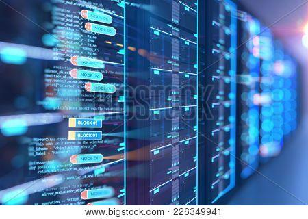 Server Room 3d Illustration With Node Base Programming Data  Design Element.concept Of Big Data Stor